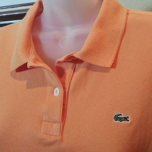 Lacoste Pique Polo Shirt Orange Short Sleeve 40/ M